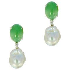 Green Aventurine and Silver Baroque Pearl Drop Earrings