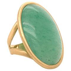 Green Aventurine Brushed Yellow Gold 18 Karat