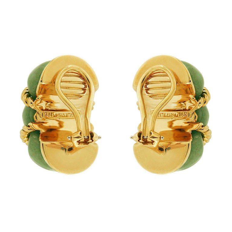 Valentin Magro Green Aventurine Gold Shrimp Earrings In New Condition For Sale In New York, NY
