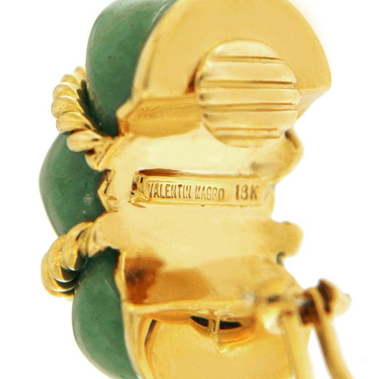 Women's Valentin Magro Green Aventurine Gold Shrimp Earrings For Sale