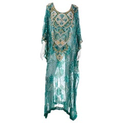Green Beaded Silk Vintage Caftan with Gold Metallic Embroidery and Sequins