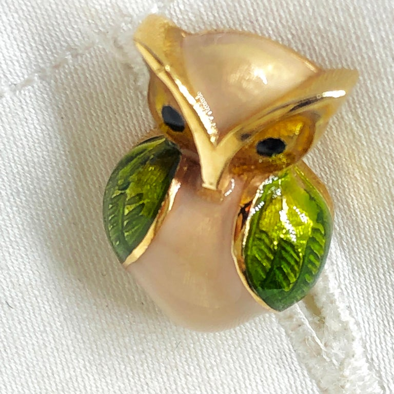 Green Beige Hand Enameled Owl Shaped Lapis Stick Back Yellow Gold Cufflinks For Sale 8
