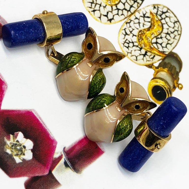 Green Beige Hand Enameled Owl Shaped Lapis Stick Back Yellow Gold Cufflinks For Sale 10