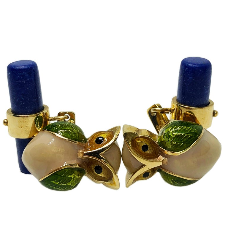 Golden Brown, Green Olive, Hazelnut Beige Hand Enamelled Little Owl Shaped Lapis Stick Back Absolutely Chic yet Timeless Cufflinks, in a Yellow Gold Setting.  In our fitted smart Black Box and Pouch. Owl Size 0.592x0.414inches (16x11mm)