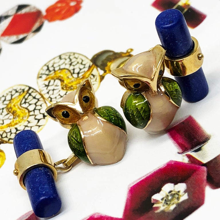 Green Beige Hand Enameled Owl Shaped Lapis Stick Back Yellow Gold Cufflinks For Sale 2