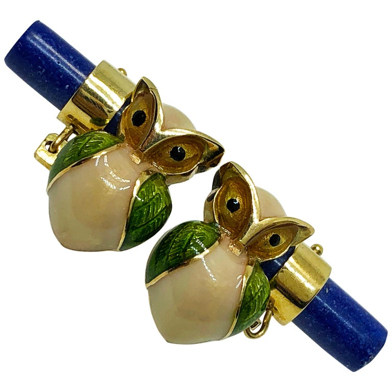 Green Beige Hand Enameled Owl Shaped Lapis Stick Back Yellow Gold Cufflinks For Sale
