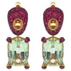 Green Beryl 18.64 Carat Ruby 18 Karat Yellow Gold Earrings