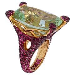 Green Beryl 21.96 Carat Ruby 18 Karat Yellow Gold Ring