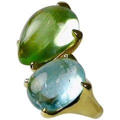 18 Carat Yellow Gold Green Beryl and Cabochon Aquamarine Crossover Ring