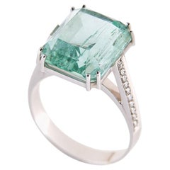 Green Beryl and Diamond Engagement Gold Ring Russian Emerald Jewelry