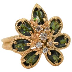 Green Beryl Diamond 14 Karat Yellow Gold Floral Burst Cocktail Ring