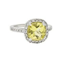 Green Beryl Diamond 18 Karat White Gold Gemstone Ring