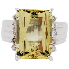 Green Beryl Emerald Cut and White Diamond Round Cocktail Ring in 18 Karat Gold