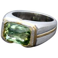 Green Beryl Platinum and Gold Ring