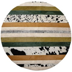 Green, Black & White Round Nueva Raya Customizable Cowhide Area Floor Rug Medium