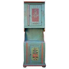Green-Blue Floral Painted Two Door Cabinet, Dated 1819