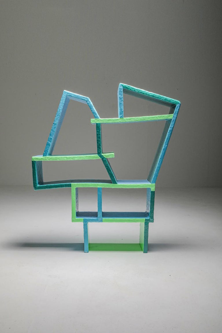 Green and Blue Clay Shelve System by Diego Faivre For Sale 7