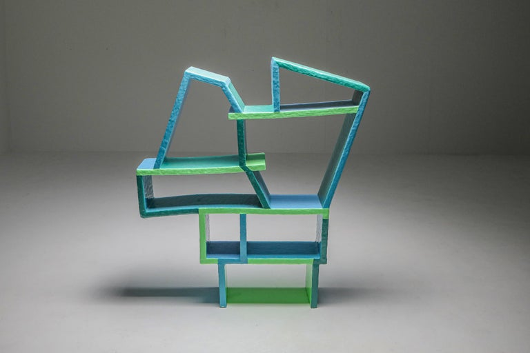 Dutch Green and Blue Clay Shelve System by Diego Faivre For Sale