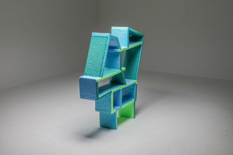 Green and Blue Clay Shelve System by Diego Faivre In New Condition For Sale In Antwerp, BE