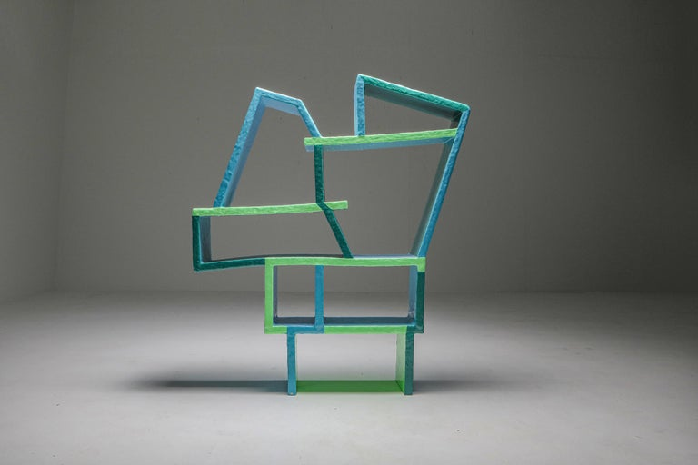 Contemporary Green and Blue Clay Shelve System by Diego Faivre For Sale