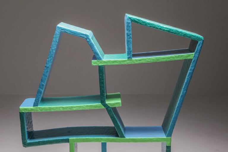 Green and Blue Clay Shelve System by Diego Faivre For Sale 1