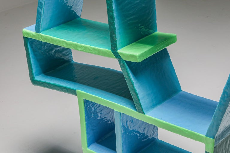 Green and Blue Clay Shelve System by Diego Faivre For Sale 2