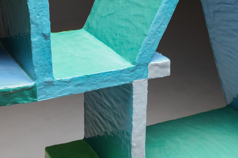 Green and Blue Clay Shelve System by Diego Faivre For Sale 4