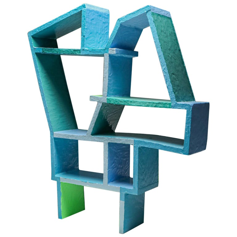 Green and Blue Clay Shelve System by Diego Faivre For Sale
