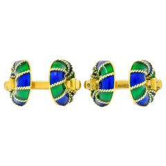 1980's Vintage Green Blue Enamel 18 Karat Gold Men's Cufflink