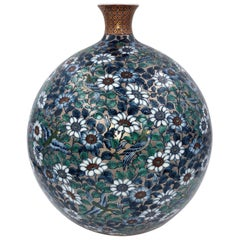 Green Blue Hand Painted Porcelain Vase by Japanese Master Artist