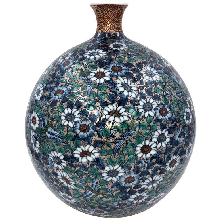 Green Blue Hand Painted Porcelain Vase by Japanese Master Artist For Sale