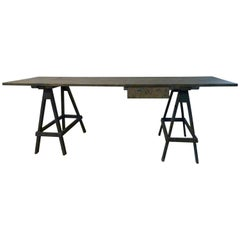 Green-Blue Patinated Pine Wood Trestle Table