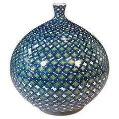 Jarpanese Contemporary Green Blue Porcelain Vase by  Master Artist