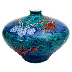 Green Porcelain Vase by Japanese Master Artist