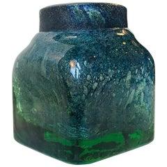 Green and Blue Venini Glass Vase, Murano, Italy, circa 1950