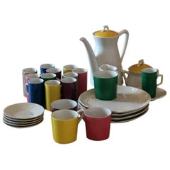 Green, Blue, Yellow Japanese Metasco Porcelain Coffee, Tea and Dessert Service