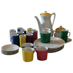 Green, Blue, Yellow, Pink and Gray Porcelain Coffee, Tea & Dessert Cups & Plates