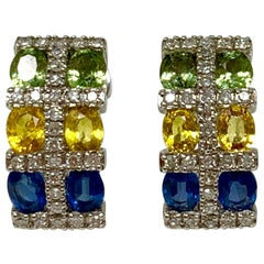 Green, Blue, Yellow Sapphire and Diamond Earrings in White Gold