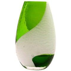 Green Bohemian Glass Vase, 1960s