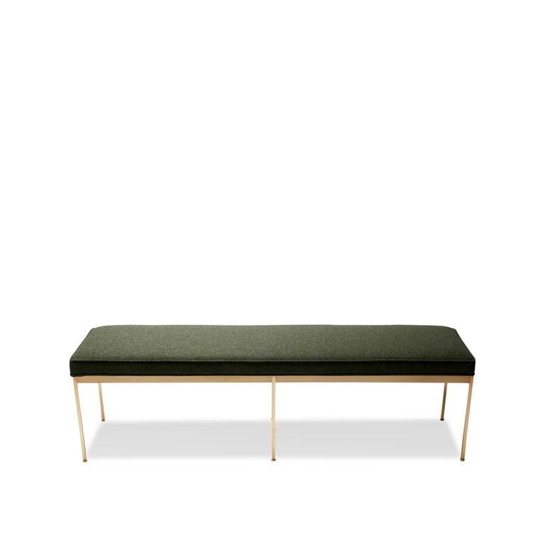 Mid-Century Modern Green Boiled Wool and Satin Brass Paul Bench by Lawson-Fenning For Sale