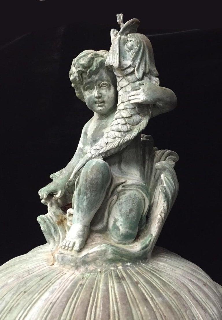 Green Bronze Figural Fountain For Sale 1