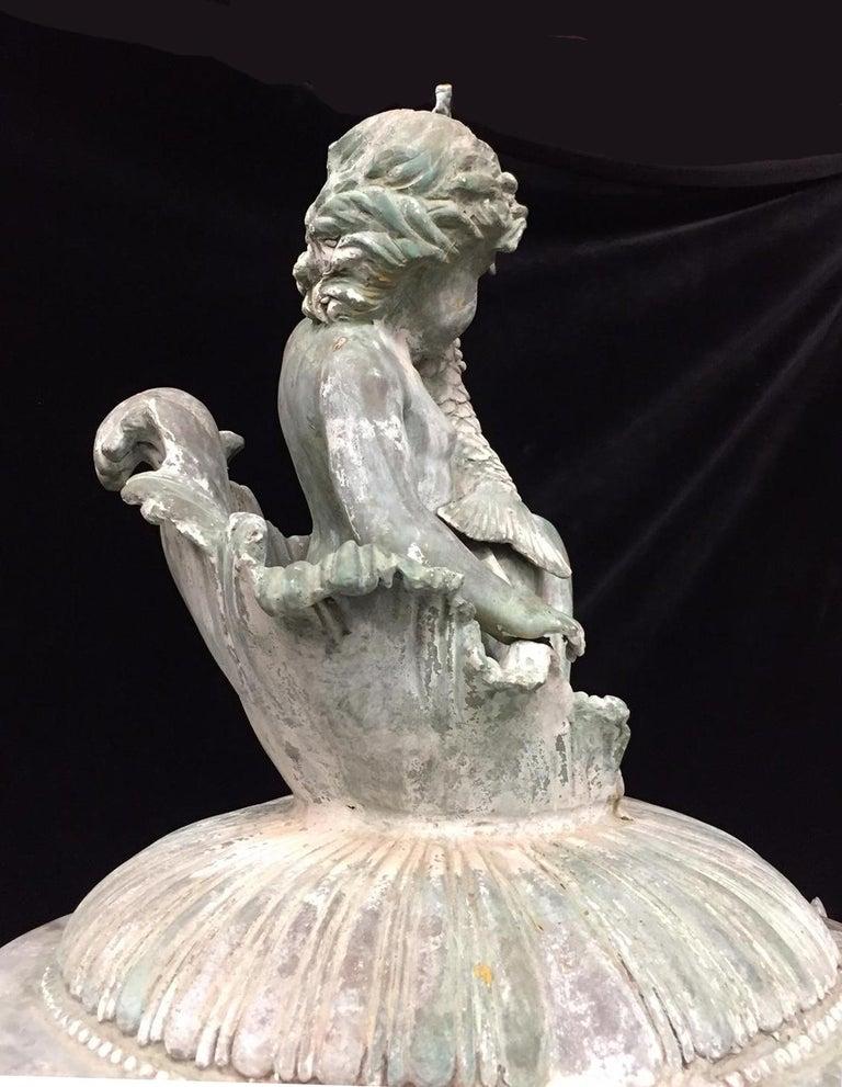 Green Bronze Figural Fountain For Sale 2