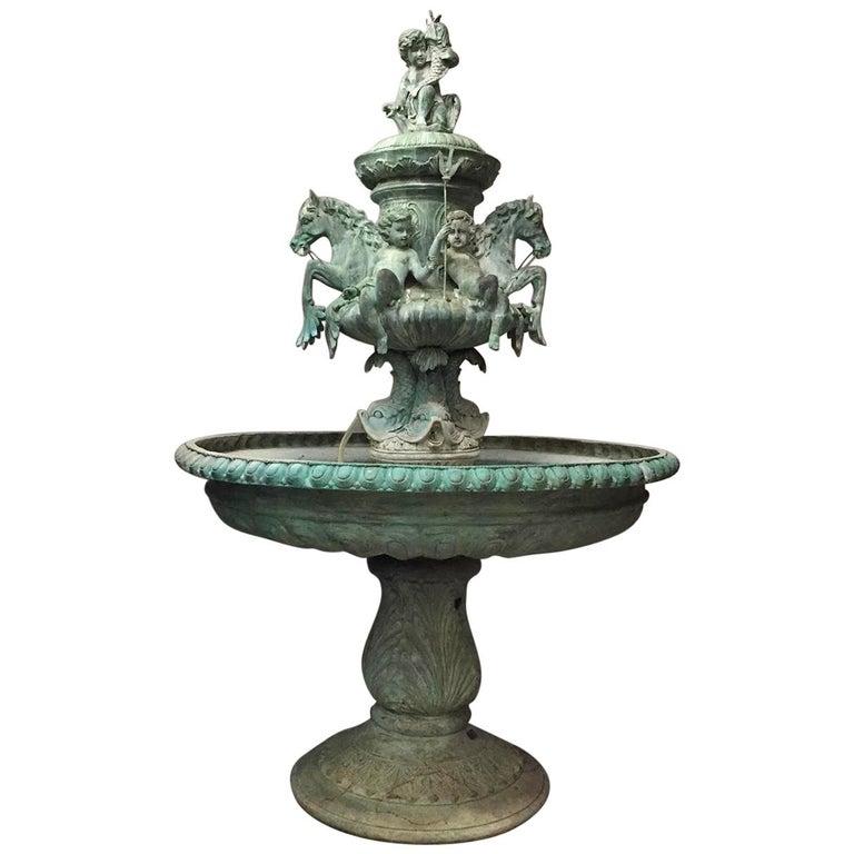 Green Bronze Figural Fountain For Sale