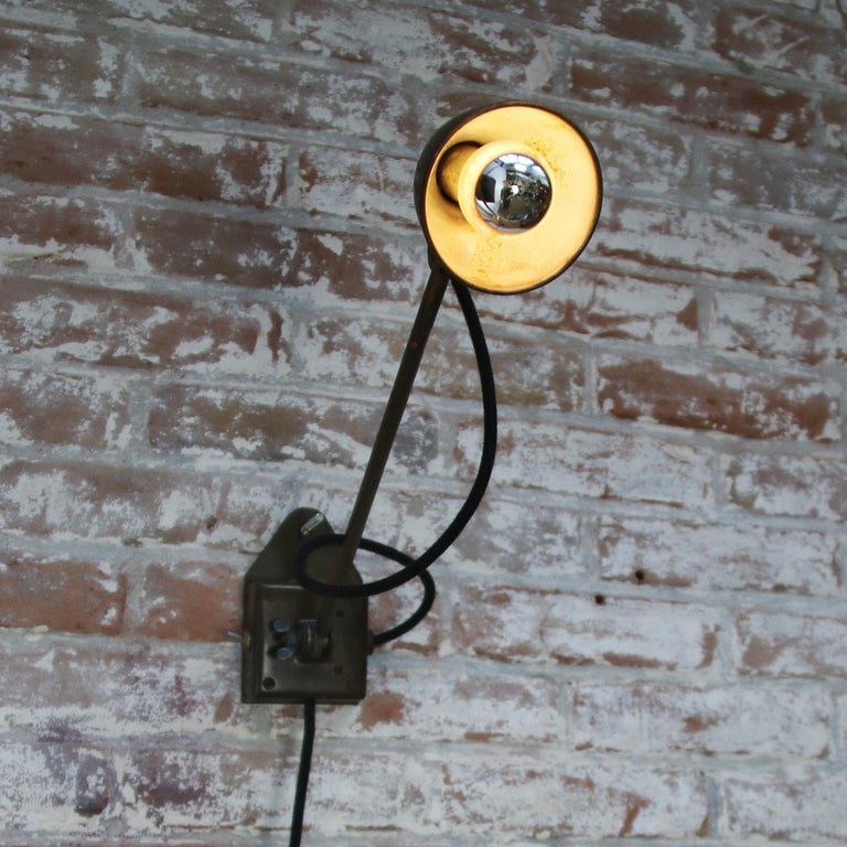 20th Century Green Brown Copper Vintage Industrial Scones Wall Light For Sale