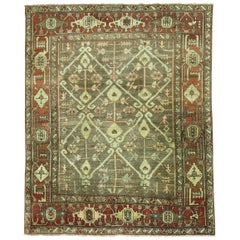 Green Brown Masculine Antique 20th Century Persian Heriz Rug