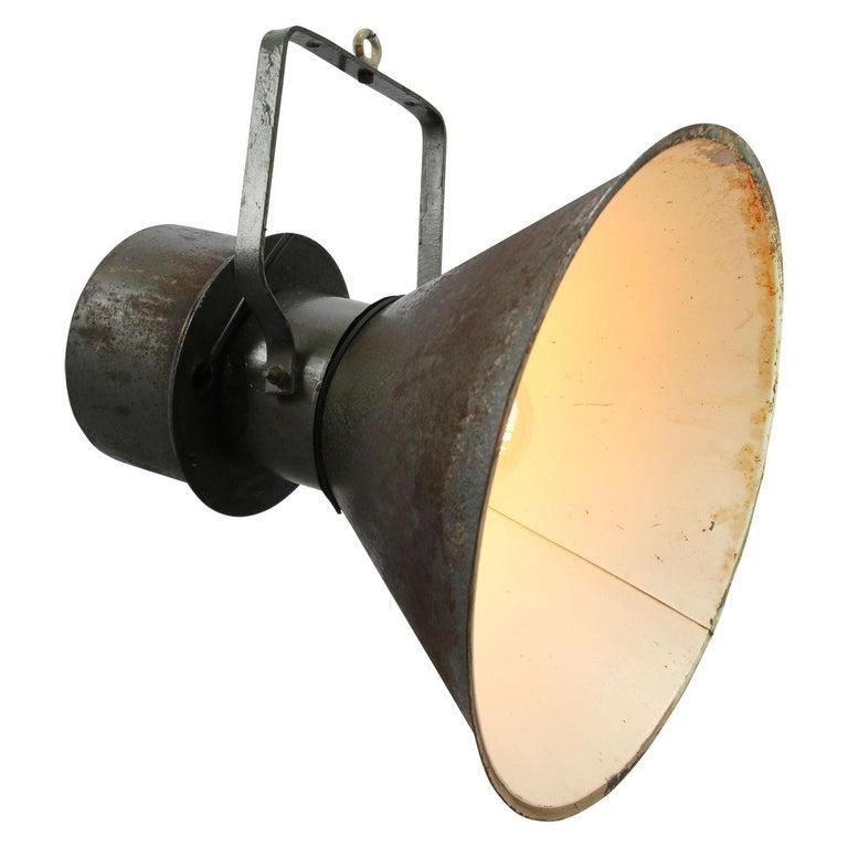 Czech Green Brown Metal Vintage Industrial Pendant Lights For Sale
