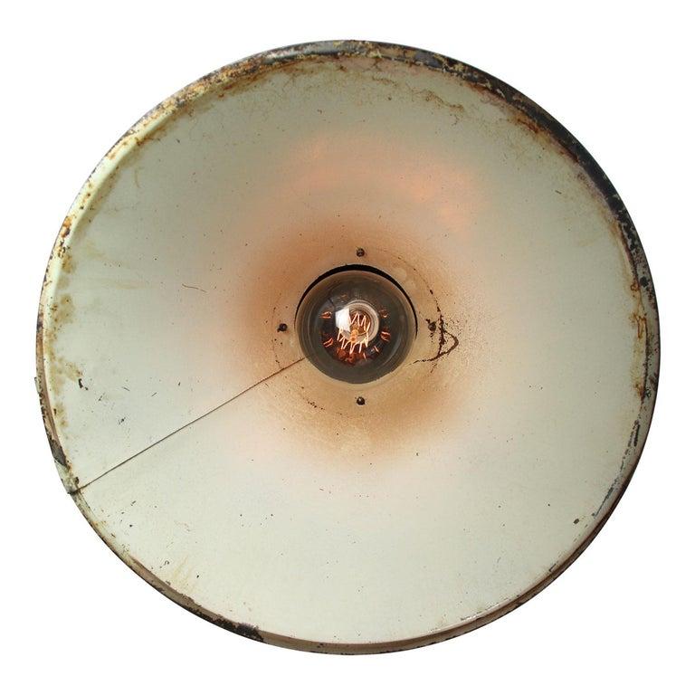 20th Century Green Brown Metal Vintage Industrial Pendant Lights For Sale