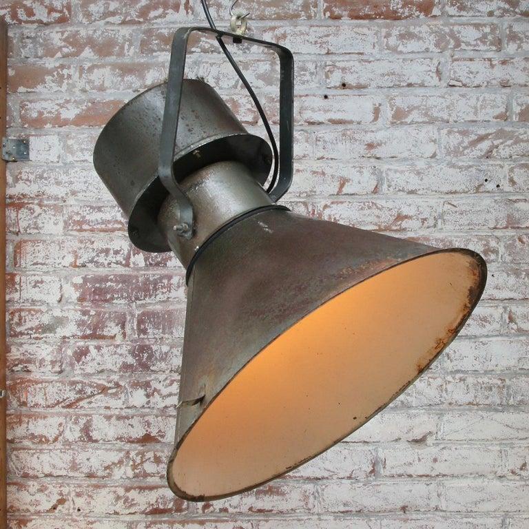 Iron Green Brown Metal Vintage Industrial Pendant Lights For Sale
