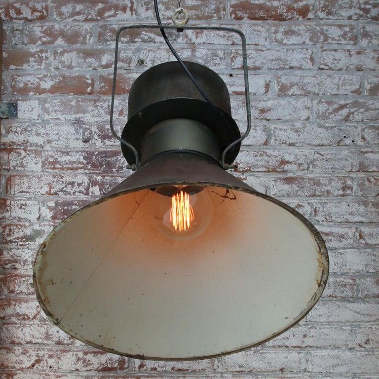 Green Brown Metal Vintage Industrial Pendant Lights For Sale 1