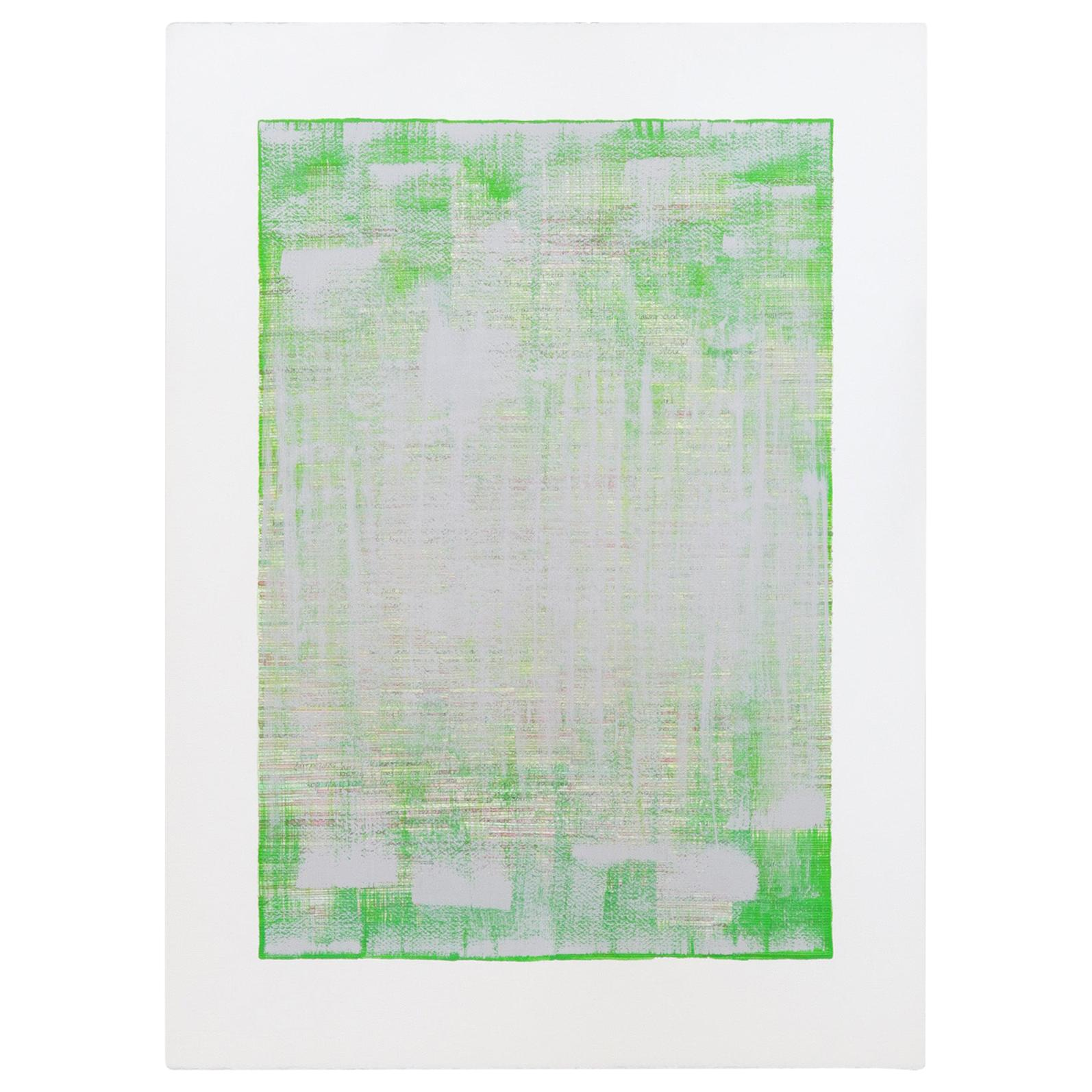 """""""Green Calcite"""", Original Mixed-Media Painting on Paper"""